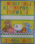 1208 NeedleDeeva 6.5 x 8 18 Mesh Bear and Pig Birth Sampler
