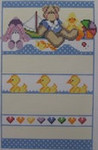 1101 NeedleDeeva 6.5 x 9.75 13 Mesh Bear and Ducks Birth Sampler