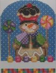 1331 NeedleDeeva 4.25 x 5.5 18 Mesh Gingerbread George Snowman