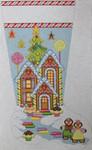 1356D NeedleDeeva 14x22 13 Mesh Gingerbread House Stocking