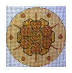 "Fiori Designs F3606 - Gold Flower Round 5"" round 18 count white mono"