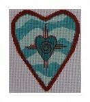 """Fiori Designs F3668 - Santa Fe Heart 4 3/3 x 5 1/4"""" 18 ct. white mono"""