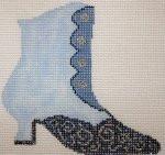 """Fiori Designs F3649 - Blue Boot 4 1/2 x 5 1/2"""" 18 count white mono"""