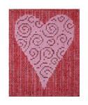 """Fiori Designs F3630 - Swirling Heart w/Stripe Background 3 3/8 x 4 1/4"""" 18 count white mono"""