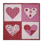 """Fiori Designs F3637 - Patchwork Hearts 5 1/2 x 5 1/2"""" 18 count white mono"""