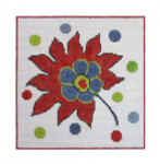 """Fiori Designs F3662 - Turkey Flower Folio 6 x 6"""" 18 count white mono"""