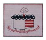 """Fiori Designs F3647 - Happy Birthday America 8 3/8 x 7"""" 18 count white mono"""