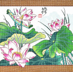 WH1239SKU Lee's Needle Arts Lotus With Border 16x16 13M