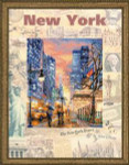RLPT0025 Riolis Cross Stitch Kit Cities of the World - New York painted fabric with  cross-stitch
