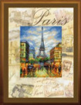 RLPT0018 Riolis Cross Stitch Kit Cities of the World - Paris painted fabric with  cross-stitch