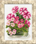 RL1115 Riolis Cross Stitch Kit Petunias & Primroses