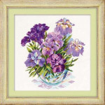 RL1071 Riolis Cross Stitch Kit Irises in Vase