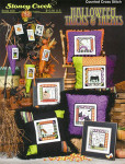 09-2208 Halloween Tricks & Treats by Stoney Creek Collection$12.99 Pillow designs are 69 x 69. Ornaments are 21 x 35.