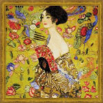 RL1226 Riolis Cross Stitch Kit Lady with a Fan  after Klimt's painting