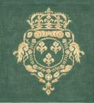 KS434G Crest w/fleur de lis-G 9X9 18 Mesh Cooper Oaks Designs