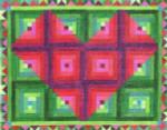 CBC807 Log Cabin Heart Quilt 12.25X9.75 13 Mesh Cooper Oaks Designs