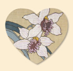 024 Red Thread Designs Orchid Heart, 8 x 7, mesh 18, sandstone,T. Enfield Includes Stitch Guide