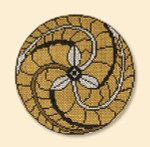 "056 Red Thread Designs Lotus Crest 5"", mesh 18, sandstone, P. Juell Includes Stitch Guide"