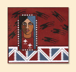 146 Red Thread Designs Native American Woman, 9 x 8.5, mesh 18, red,T. Enfield