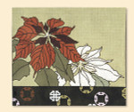 032 Red Thread Designs Poinsettia 14 x 12, mesh 13, white,T. Enfield Includes Stitch Guide