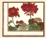 149 Red Thread Designs Geraniums , 12 x 14 , mesh 18 , eggshell , T. Enfield