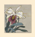 014 Red Thread Designs Orchid Squarer, 10 x 10, mesh 18, gray,T. Enfield Includes Stitch Guide