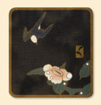 081A Red Thread Designs Swallow and Peony 11 x 13, mesh 18,,T. Enfield On Sandstone Not Black