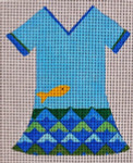 Waterweave CO781 Water Dress 18 mesh hanger and stitch guide included 4.25 x 5.5