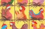 Waterweave C153 Chickens Roosting 13 mesh 12 x 8