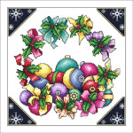 13-2146 Ribbon Wreath And Ornaments by Vickery Collection 160 x 160