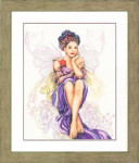 "PN150005 Lanarte Kit Purple Butterfly Girl 15"" x 20""; Linen; 30ct"