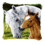 "PNV146759 Vervaco Latch Hook Kit Horse and Foal Pillow 16"" x 16""; Canvas; 18ct"