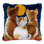 "PNV21651 Vervaco Latch Hook Kit Cats at Night Pillow 16"" x 16""; Canvas; 18ct"
