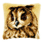 "PNV21650 Vervaco Latch Hook Kit Brown Owl Pillow 16"" x 16""; Canvas; 18ct"