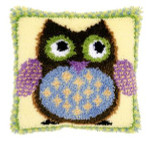 "PNV149283 Vervaco Latch Hook Kit Mr. Owl Pillow 16"" x 16""; Canvas; 18ct"