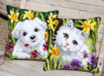 "PNV147569 Vervaco Kit Westie in Daffodils (left)		16"" x 16"" Canvas"