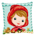 """PNV150071 Vervaco Kit Red Riding Hood with a Bow Pillow 16"""" x 16""""; Canvas; 18ct"""