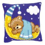 """PNV148196 Vervaco Kit Blue Teddy on the Moon 16"""" x 16"""" Canvas"""