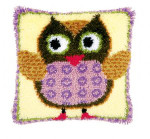 "PNV148894 Vervaco Latch Hook Kit Miss Owl Pillow 16"" x 16""; Canvas; 18ct"