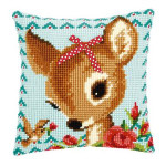 """PNV149899 Vervaco Kit Bambi with a Bow Pillow16"""" x 16"""" Canvas"""