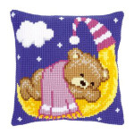 "PNV148195 Vervaco Kit Pink Teddy on the Moon 16"" x 16"" Canvas"