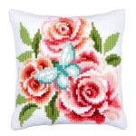 "PNV149832 Vervaco Kit Butterfly and Roses Pillow 16"" x 16""; Canvas; 18ct"