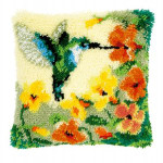 "PNV146770 Vervaco Latch Hook Kit Hummingbird and Flowers Pillow 16"" x 16""; Canvas; 18ct"