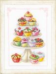 "PNV11909  Vervaco Kit Cupcakes  8"" x 11"" Aida 14ct"