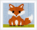 "PNV149501 Vervaco Long Stitch Kit Little Fox  5"" x 6"" Printed Canvas"