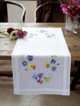 """PNV145233 Vervaco Kit Pretty Pansies Table Runner 16"""" x 40"""" 100% Cotton  Pre-Finished"""