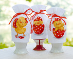 "PNV147927 Vervaco Kit Happy Easter  Egg Cosies (set of 3) 3"" x 4"" Aida  Semi Pre-Finished 18ct"