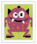 "PNV150519 Vervaco Kit Pink Little Monster III  5"" x 6"" Printed Canvas 8ct"