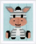 "PNV148073 Vervaco Long Stitch Kit Zebra 5"" x 6"" Printed Canvas"