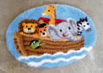 "PNV148431 Vervaco Latch Hook Kit Noah's Ark  Rug  27"" x 22"" Fabric: Canvas Count: 4ct"